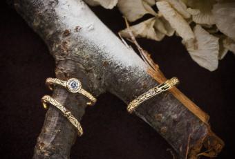 木のテクスチャーブライダルリング。#76